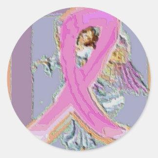 Cinta rosada con ángel pegatina redonda