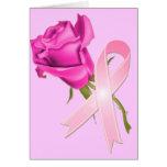 Cinta rosada con conciencia color de rosa del cánc felicitacion