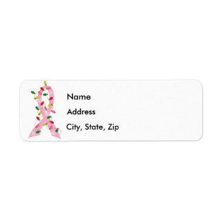 Cinta rosada con el cáncer de pecho de las luces d etiquetas de remite