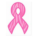 Cinta rosada con el fondo de la impresión del tigr postales