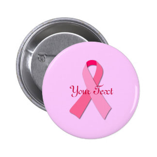 Cinta rosada con el texto de encargo pin redondo 5 cm