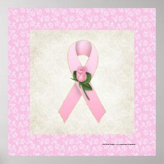 Cinta rosada con la impresión hermosa color de ros póster