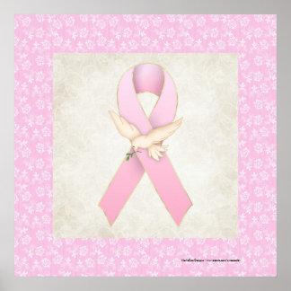 Cinta rosada con la impresión hermosa de la paloma póster