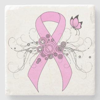 Cinta rosada con la mariposa posavasos de piedra