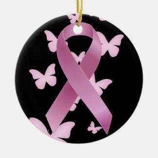 Cinta rosada de la conciencia adorno navideño redondo de cerámica