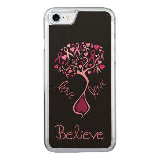 Cinta rosada de la conciencia con palabras funda para iPhone 7
