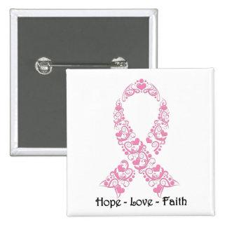 Cinta rosada de la conciencia de la esperanza pin cuadrado