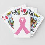 Cinta rosada de la conciencia del cáncer de pecho barajas de cartas