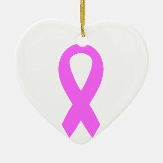 Cinta rosada de la conciencia del cáncer de pecho adorno de cerámica en forma de corazón