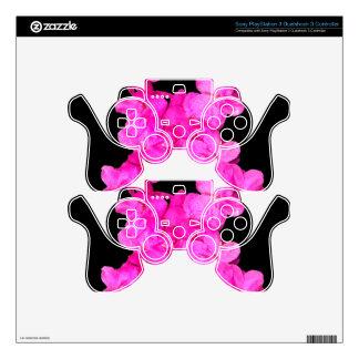 Cinta rosada de la conciencia del cáncer de pecho skins para mando PS3