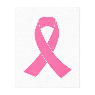 Cinta rosada de la conciencia del cáncer impresión en lienzo