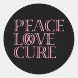 Cinta rosada de la conciencia etiquetas redondas