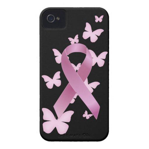 Cinta rosada de la conciencia iPhone 4 protectores