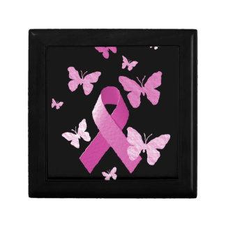 Cinta rosada de la conciencia caja de joyas