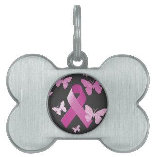 Cinta rosada de la conciencia placas de nombre de mascota