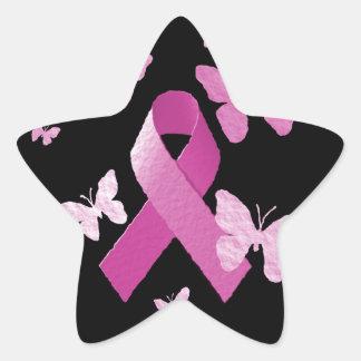 Cinta rosada de la conciencia pegatinas forma de estrella personalizadas