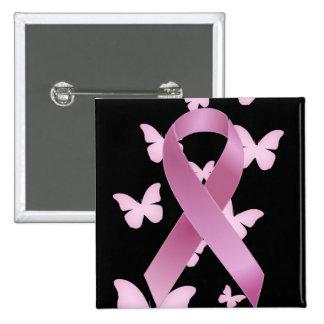 Cinta rosada de la conciencia pin cuadrada 5 cm