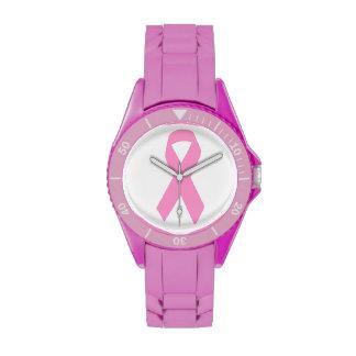 Cinta rosada de la conciencia relojes de mano