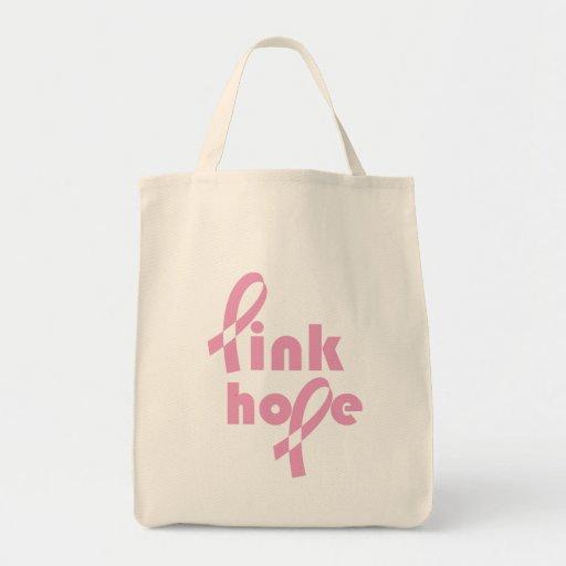 Cinta rosada de la esperanza bolsa lienzo