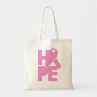 Cinta rosada de la esperanza bolsa tela barata