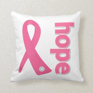 Cinta rosada de la esperanza - conciencia del cánc almohada