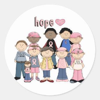 Cinta rosada de la esperanza pegatina redonda