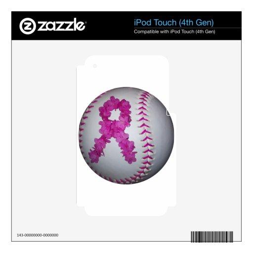 Cinta rosada de la flor del softball y de la conci iPod touch 4G calcomanías
