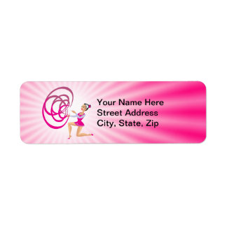Cinta rosada de la gimnasia rítmica etiquetas de remite