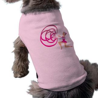 Cinta rosada de la gimnasia rítmica playera sin mangas para perro