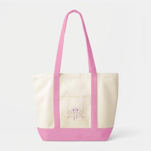 Cinta rosada de la paloma bolsa