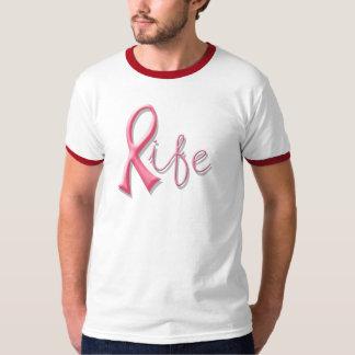 Cinta rosada de la vida camisas