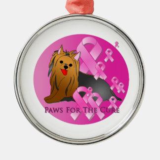 Cinta rosada de Yorkshire Terrier Ornamento Para Arbol De Navidad