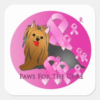Cinta rosada de Yorkshire Terrier Pegatina Cuadrada