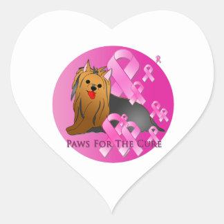 Cinta rosada de Yorkshire Terrier Pegatina En Forma De Corazón