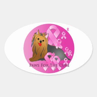 Cinta rosada de Yorkshire Terrier Pegatina Ovalada