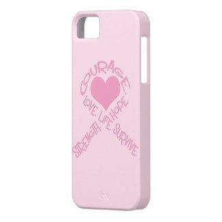 Cinta rosada del caso del iPhone 5 del cáncer de iPhone 5 Fundas