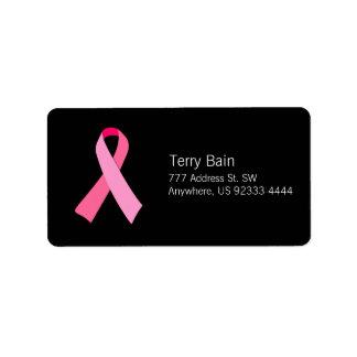 Cinta rosada etiquetas de dirección
