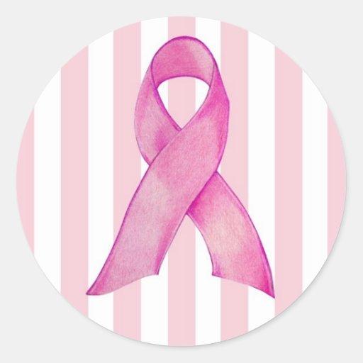Cinta rosada etiquetas redondas