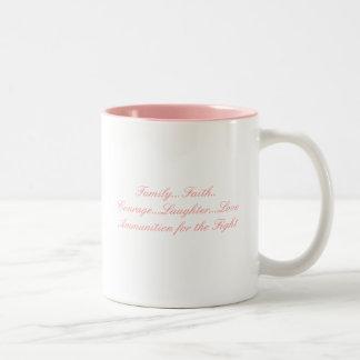 Cinta rosada, fe de la familia…. Risa del valor…… Taza De Dos Tonos