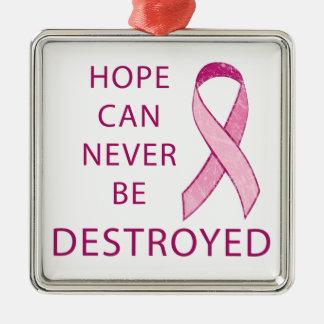 Cinta rosada: La esperanza puede nunca ser Adorno Cuadrado Plateado