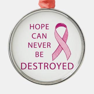 Cinta rosada: La esperanza puede nunca ser Adorno Redondo Plateado