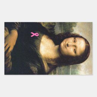 Cinta rosada Mona Lisa Pegatina Rectangular