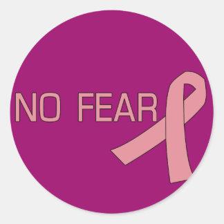 Cinta rosada NINGUNA conciencia del cáncer de Pegatina Redonda