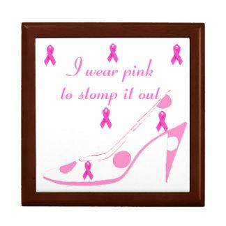 Cinta rosada para el cáncer de pecho cajas de recuerdo