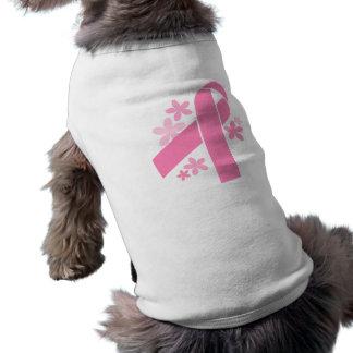 Cinta rosada playera sin mangas para perro