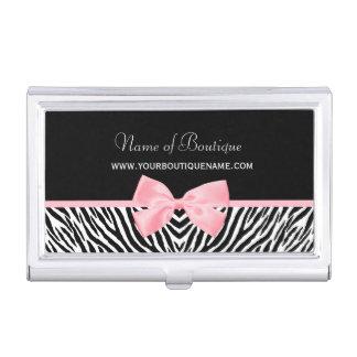 Cinta rosada verdadera del estampado de zebra de cajas de tarjetas de visita