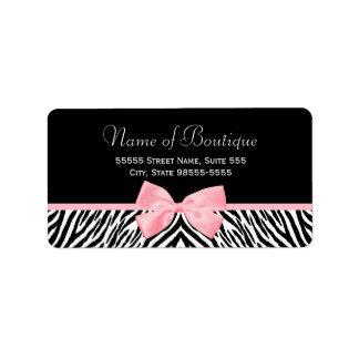 Cinta rosada verdadera del estampado de zebra de etiquetas de dirección