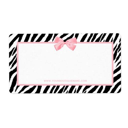 Cinta rosada verdadera del estampado de zebra de etiquetas de envío
