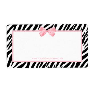 Cinta rosada verdadera del estampado de zebra de l etiquetas de envío