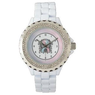 Cinta rosada y azul clara con las alas relojes de pulsera